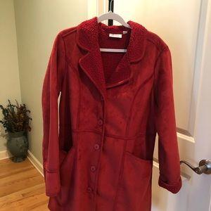 Denim & Company Red Suede Fleece Coat